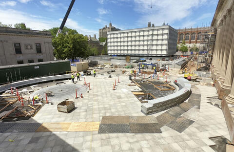 View of Hewitt Quadrangle construction, June 2020